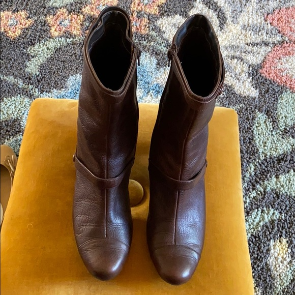 PAZZO Shoes - PAZZO Brown Leather Heel Booties Size 10